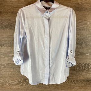 DKNY blue button up collared top NWT